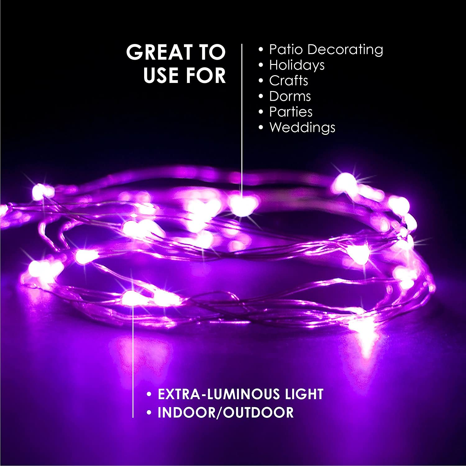 Fairy Lights Battery Powered Patio etc RTGS Products Pink Colored LED Lights Indoor Outdoor String Lights Bedroom Holiday Decor Pink Color 30 LEDs 9.5 FEET 1 Set