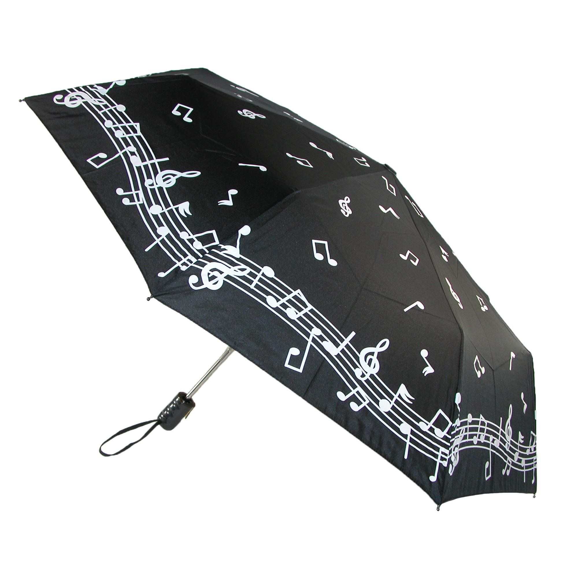 CTM Women's Auto Open and Close Color Changing Music Note Compact Umbrella