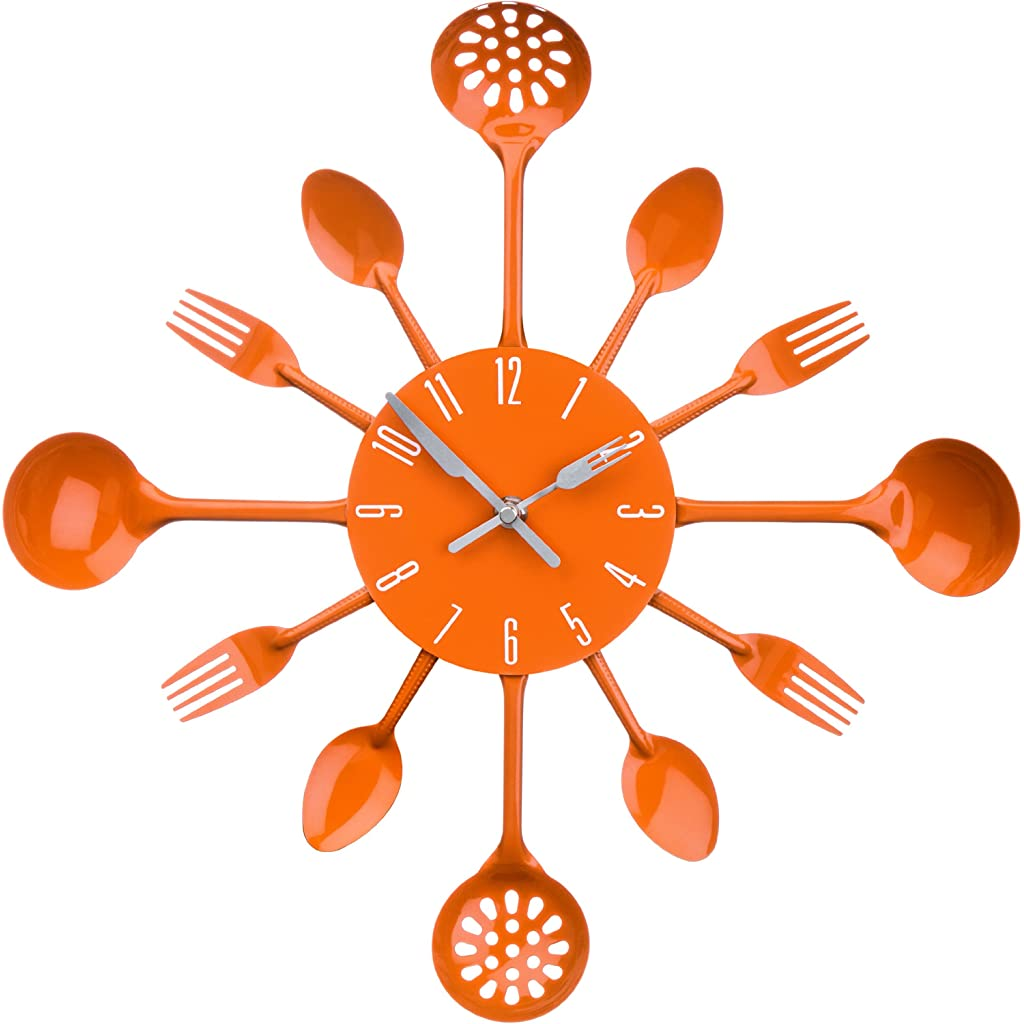 Premier Housewares Orange Cutlery Wall Clock
