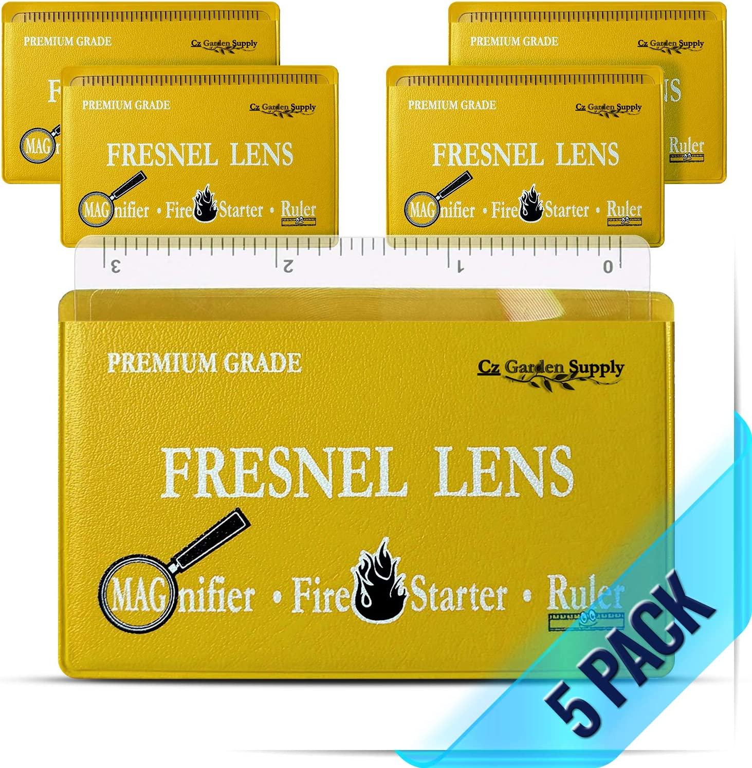 PREMIUM GRADE Fresnel Lens Pocket Wallet Credit Card Size - Magnifier - Solar Fire Starter - Ruler - UNBREAKABLE Plastic for Home Office Classroom & Outdoor EDC Survival Kit Bushcraft