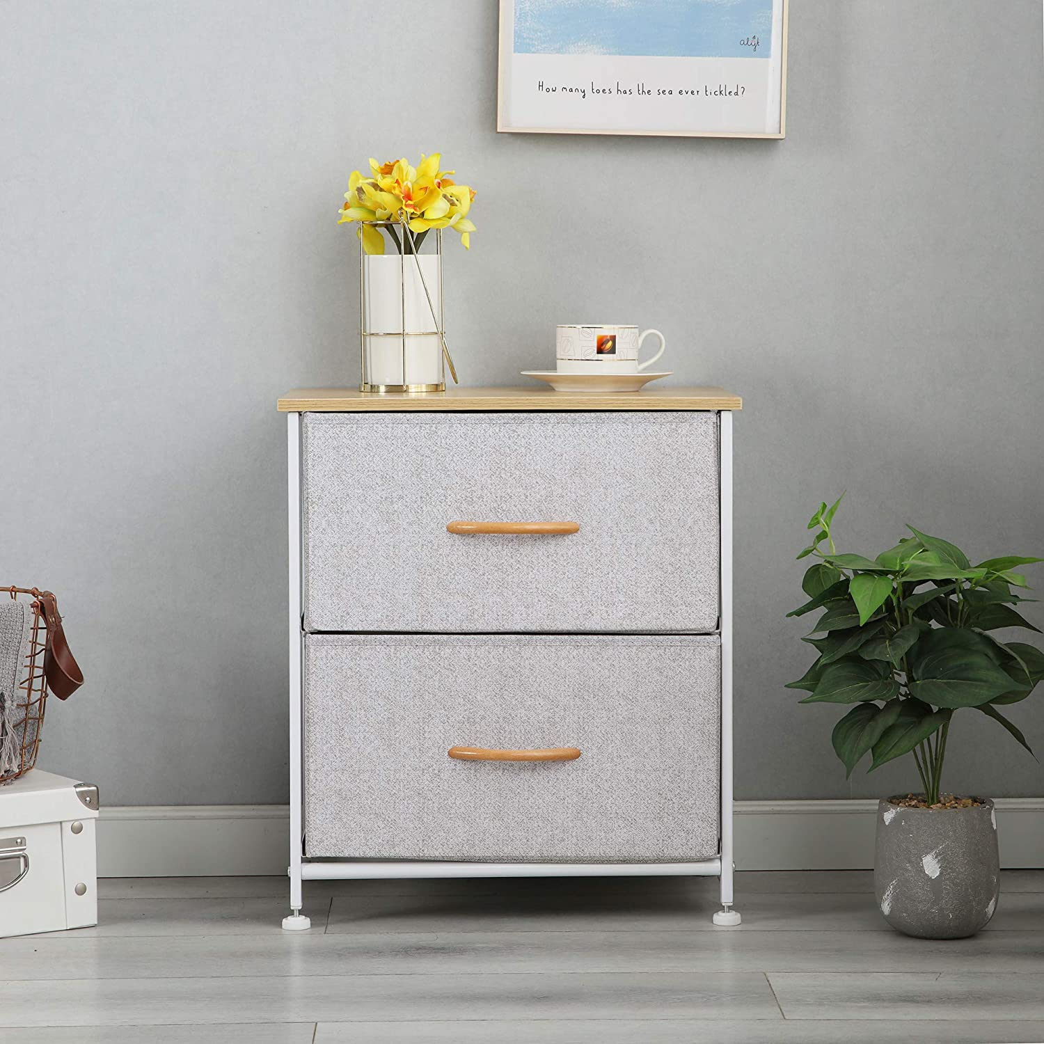 Gray McNeil 2 Drawers Fabric Dresser Vertical Storage Tower Organizer Unit for Bedroom Office Laundry Closet Entryway Hallway Nursery Room