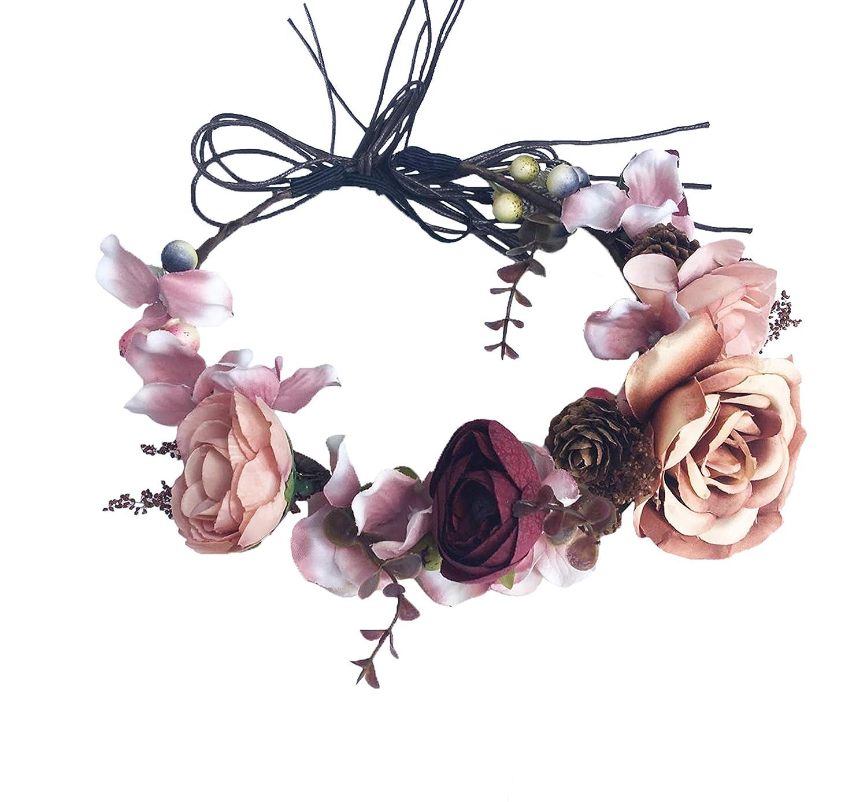 Red Wedding Hair wreath Accessories Bridal halo headpiece berry vine Flower crown Renaissance Headdress Accessories bridal party halo circle