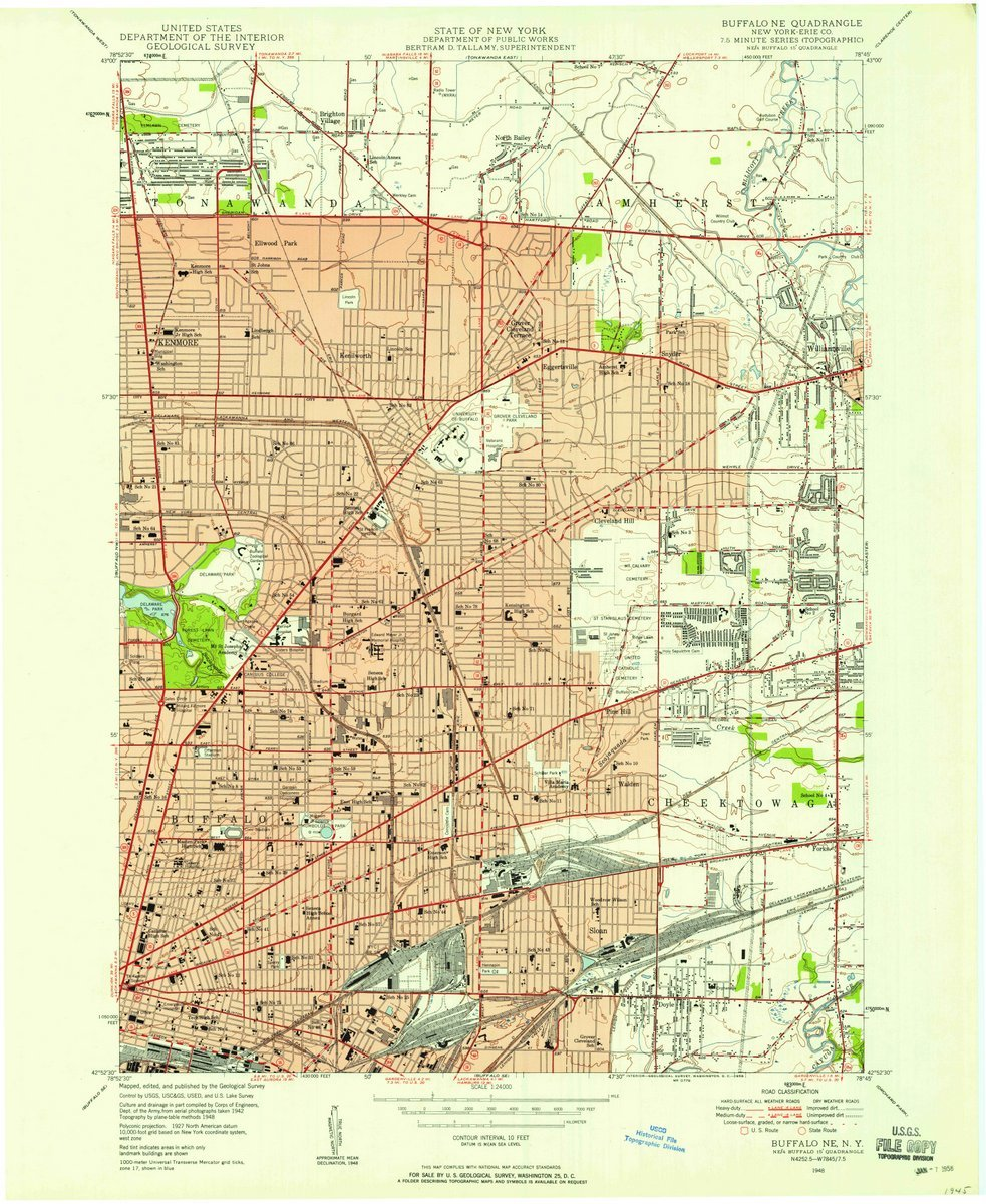 Amazon.com: 1948 Buffalo, NY - USGS Historical Topographic ... on us map new york, us map missouri, us map texas, us map ga, us map kansas, us map mn, us map ny, us map ohio, us map md,