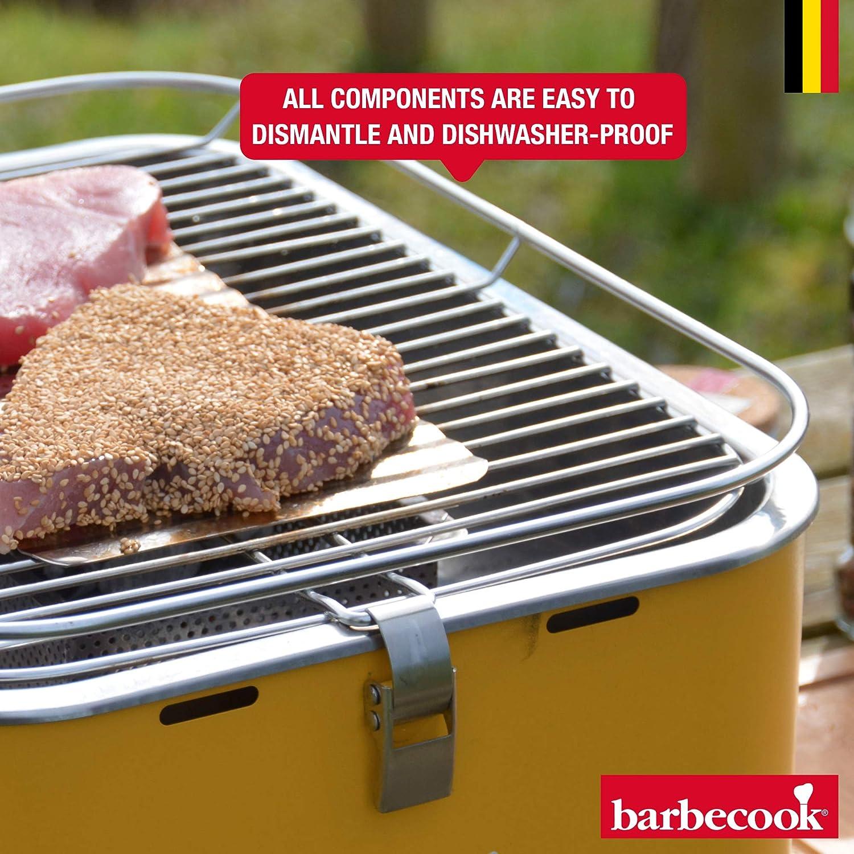 Barbecook 2235925000 Carlo Barbecue au Charbon de Bois//Gril de Table sans fum/ée DE 43,5/x/33,5/x/20,5/cm avec Sac de Transport Jaune