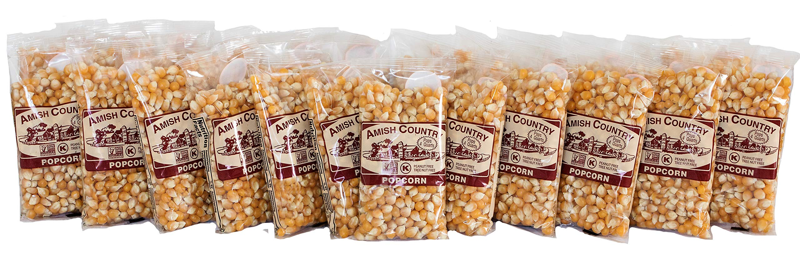 Amish Country Popcorn - Mushroom Popcorn (4 Ounce - 24 Pack) Bags - Old Fashioned, Non GMO, and Gluten Free - with Recipe Guide