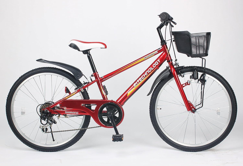 21Technology【KD246】24インチ 子供用マウンテンバイク シマノ製6段変速ギア付き B00I4HN1VQ 24|赤 赤 24