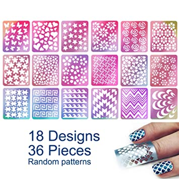 Hicarer 288 Pieces Nail Vinyl Stencils Nail Art Decoration Stickers