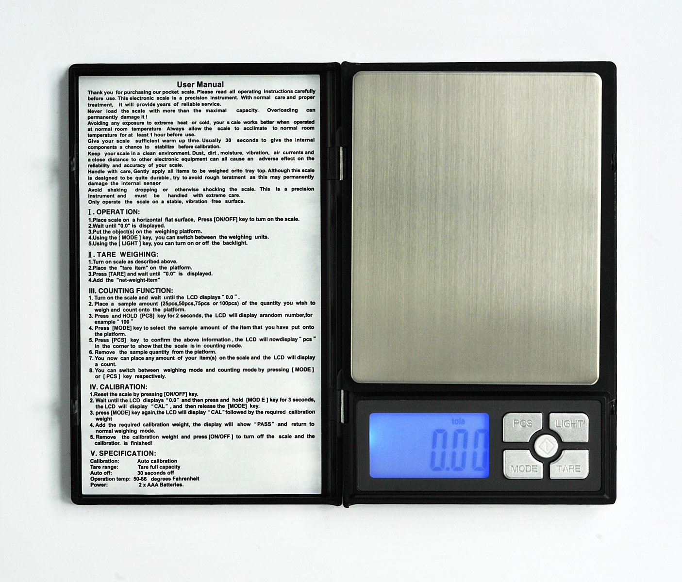 ''Notebook'' Digital Scale, up to 2000 g/4.4 lb in 0.1 /0.01 ozg increments