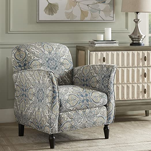 Madison Park Escher Accent Chairs-Hardwood, Plywood, Curved Living Armchair Modern Classic Style Family Room Sofa Furniture, Blue Multi Brown