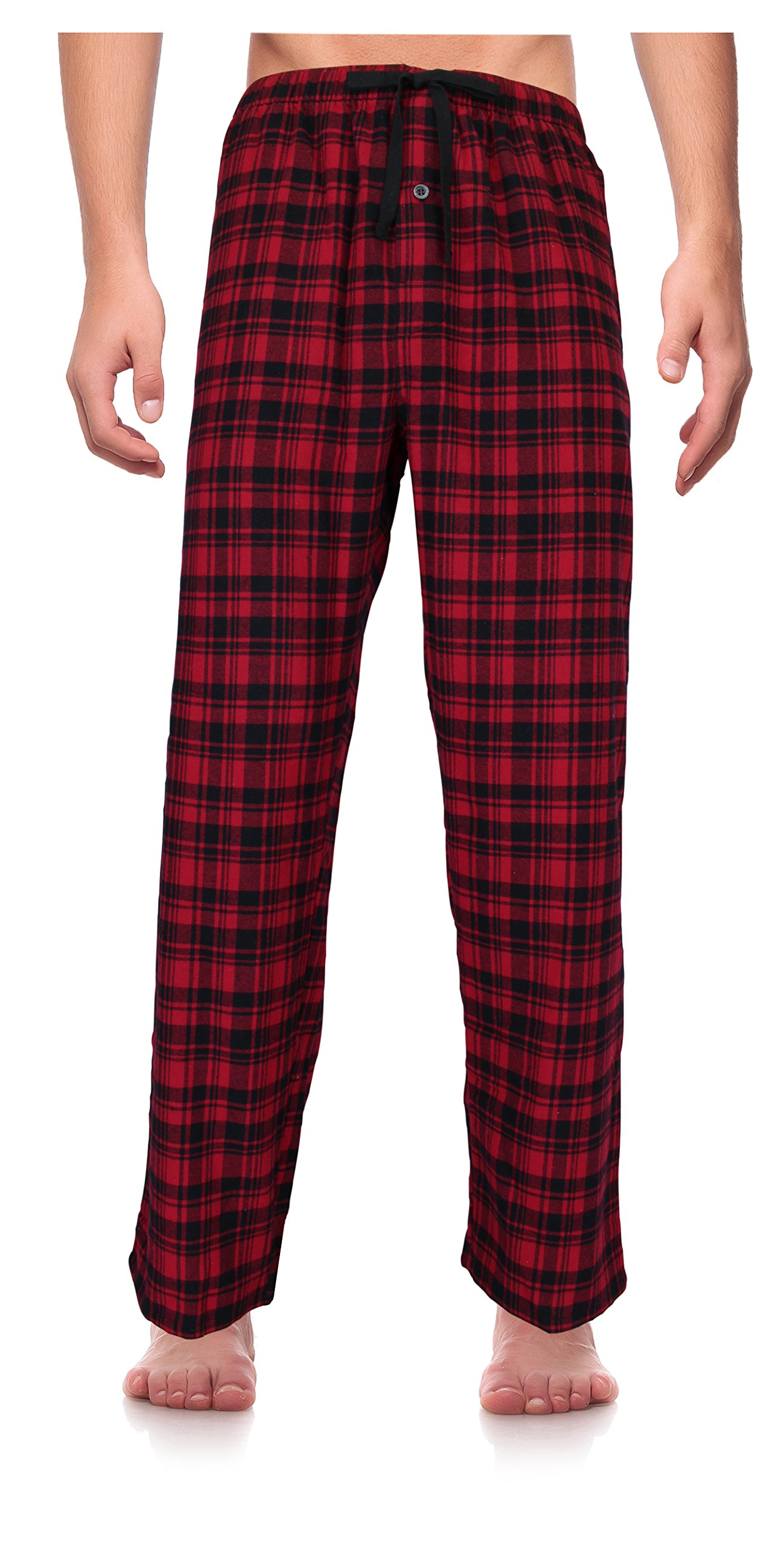 Casual Trends Classical Sleepwear Men's 100% Cotton Flannel Pajama Pants, Size Large Tall Red