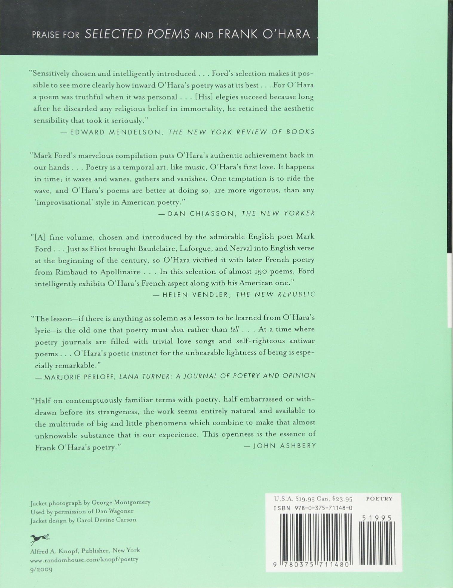 Selected Poems Frank Ohara Mark Ford 9780375711480