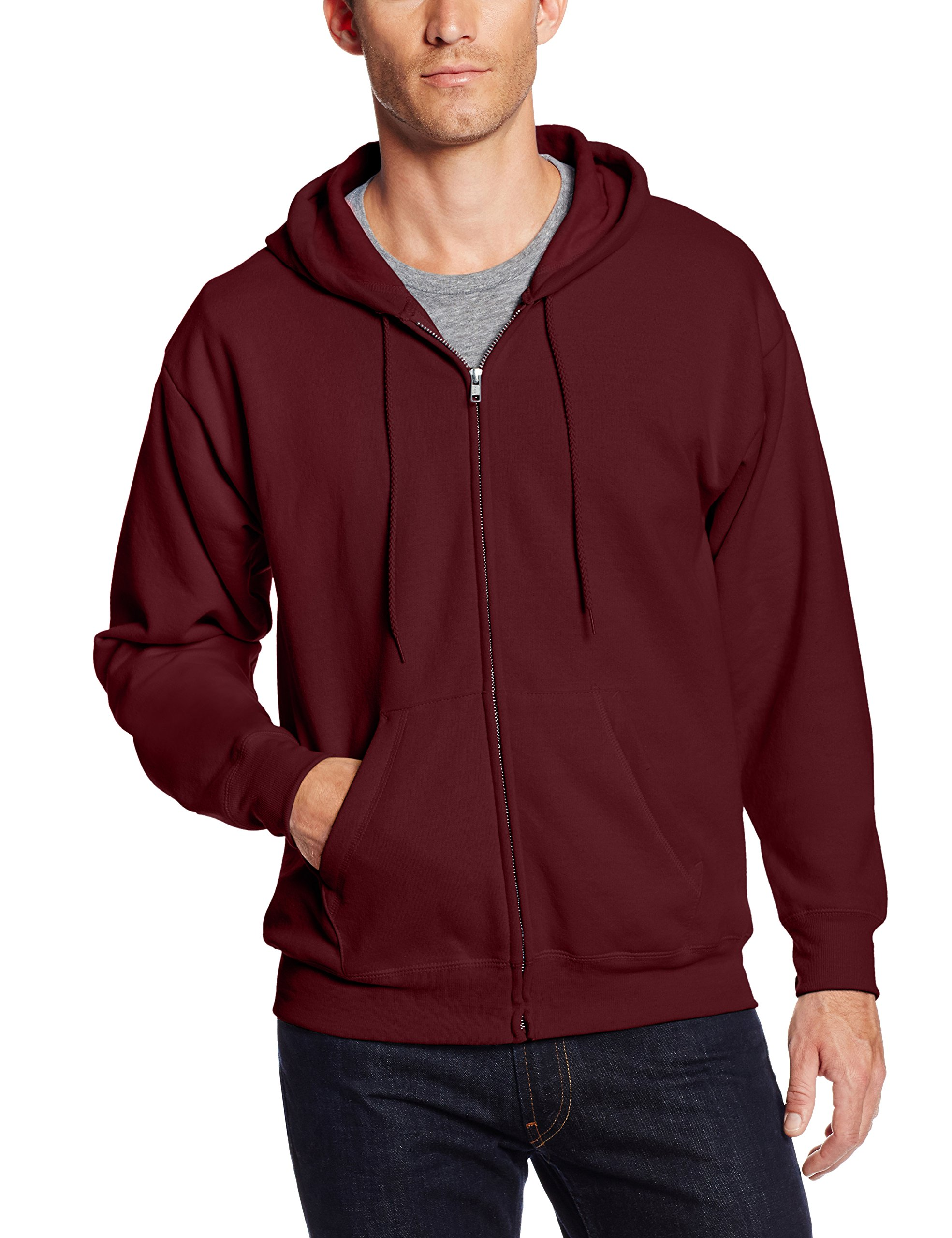 Hanes Men's Full-Zip EcoSmart Fleece Hoodie, Maroon, Large
