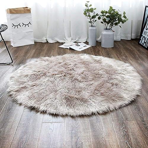 LEEVAN Plush Sheepskin Style Throw Rug Faux Fur Elegant Chic Style Cozy Shaggy Round Rug Floor Mat Area Rugs Home Decorator Super Soft Carpets Kids Play Rug 6 ft-Diameter, Coffee