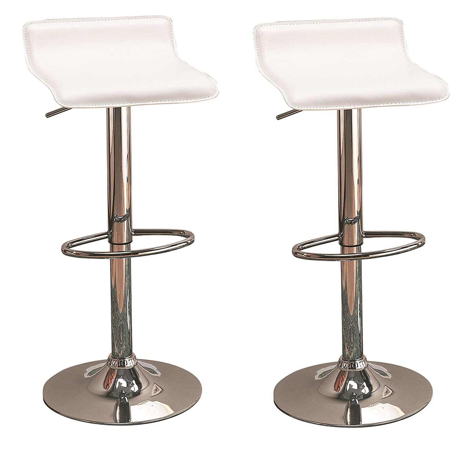 Excellent 29 Upholstered Backless Bar Stools With Adjustable Height White And Chrome Set Of 2 Gmtry Best Dining Table And Chair Ideas Images Gmtryco