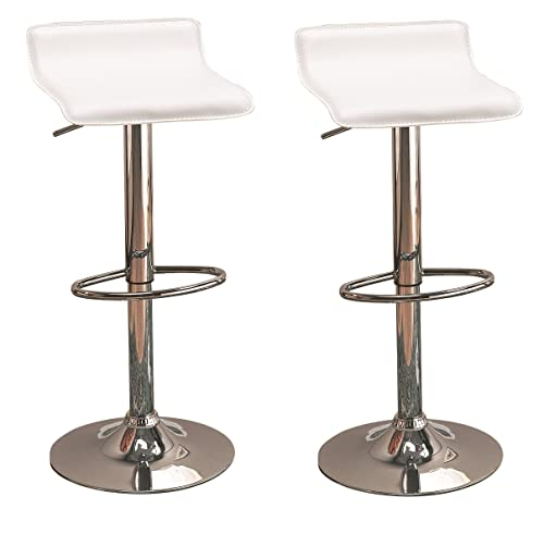 29 Upholstered Backless Bar Stools with Adjustable Height White and Chrome Set of 2