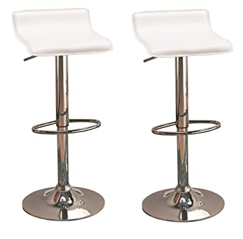 Wondrous 29 Upholstered Backless Bar Stools With Adjustable Height White And Chrome Set Of 2 Machost Co Dining Chair Design Ideas Machostcouk