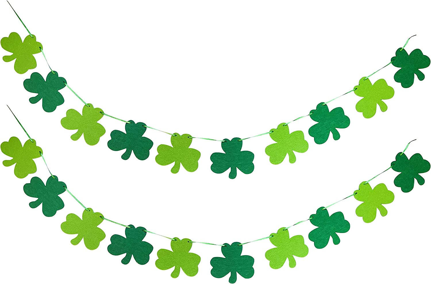 St. Patrick's Day Decorations Felt Shamrock Clover Garland Banner for St.Patrick's Day Lucky Shamrock Banner Garland for Irish Party Supplies Decor