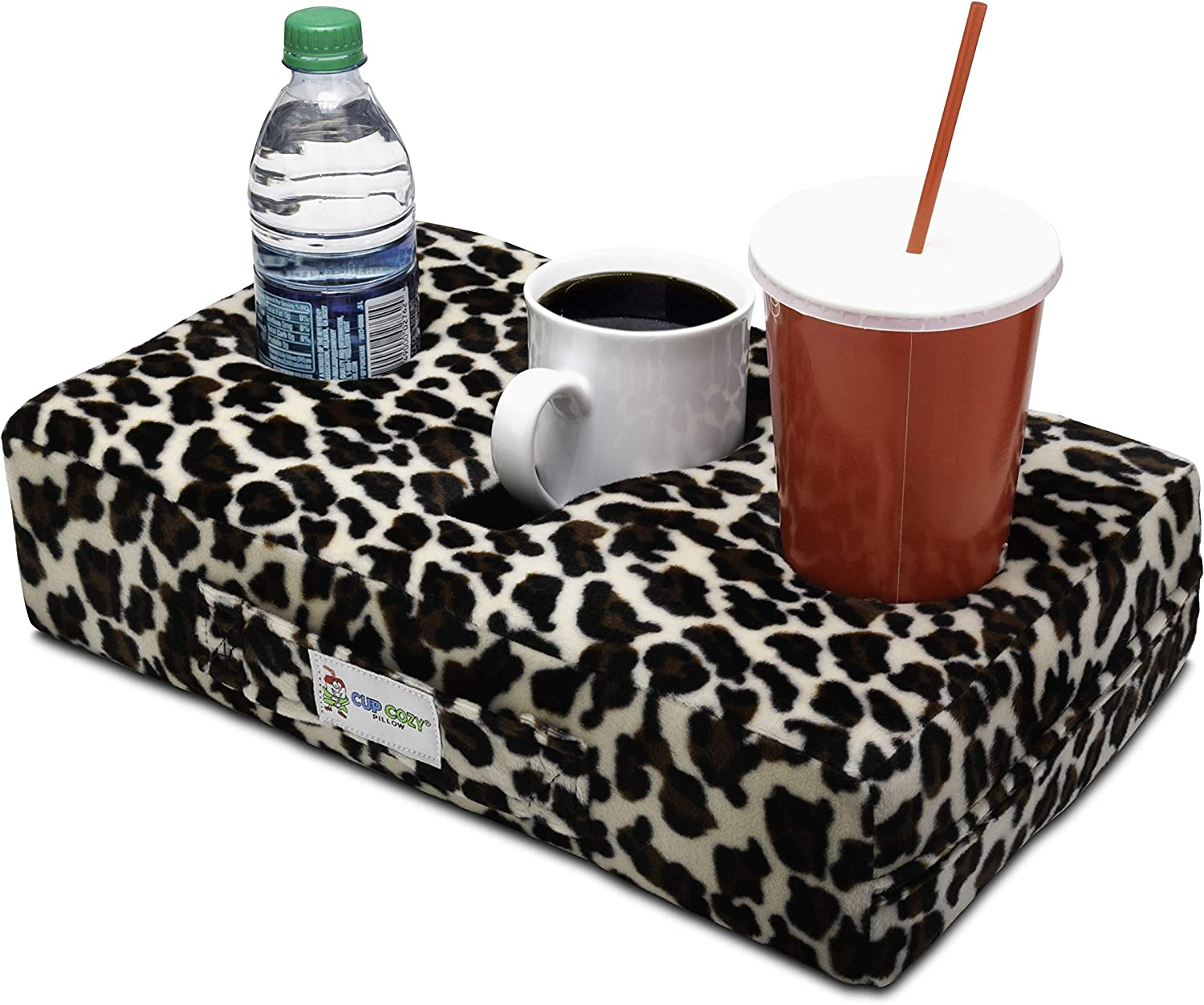 Cup Cozy Pillow (Cheetah As Seen on TV -The World's Best Cup Holder! Keep Your Drinks Close and Prevent Spills. Use it Anywhere-Couch, Floor, Bed, Man cave, car, RV, Park, Beach and More!