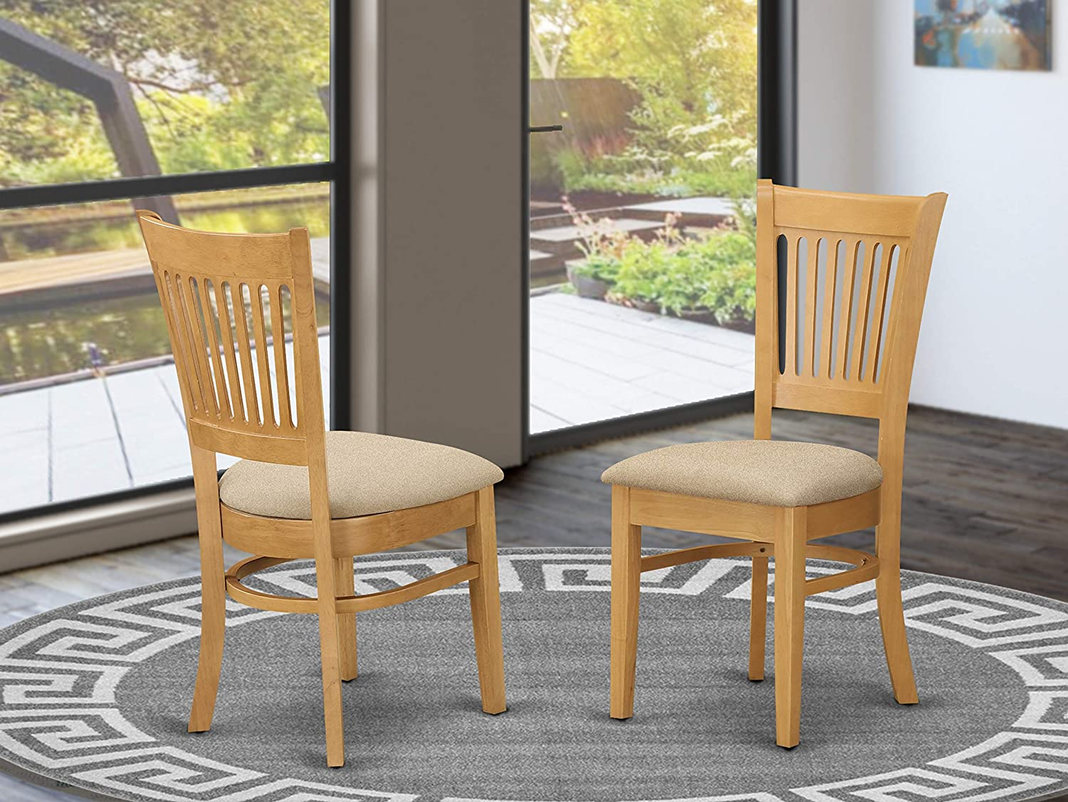 East West Furniture VAC-OAK-C Wonderful padded Parson Chair - Linen Fabric  Seat and Oak Hardwood Kitchen dining chair set of 8