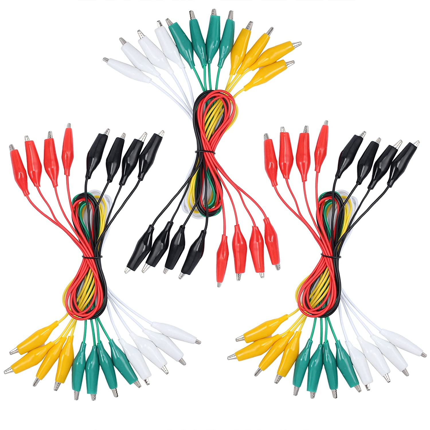 30 PCS 50cm Alligator Clips Test Lead Set Insulated Test Cable Double-Ended Clips for Multimeter or Laboratory Electric Testing Work 20 inches 5 Colors
