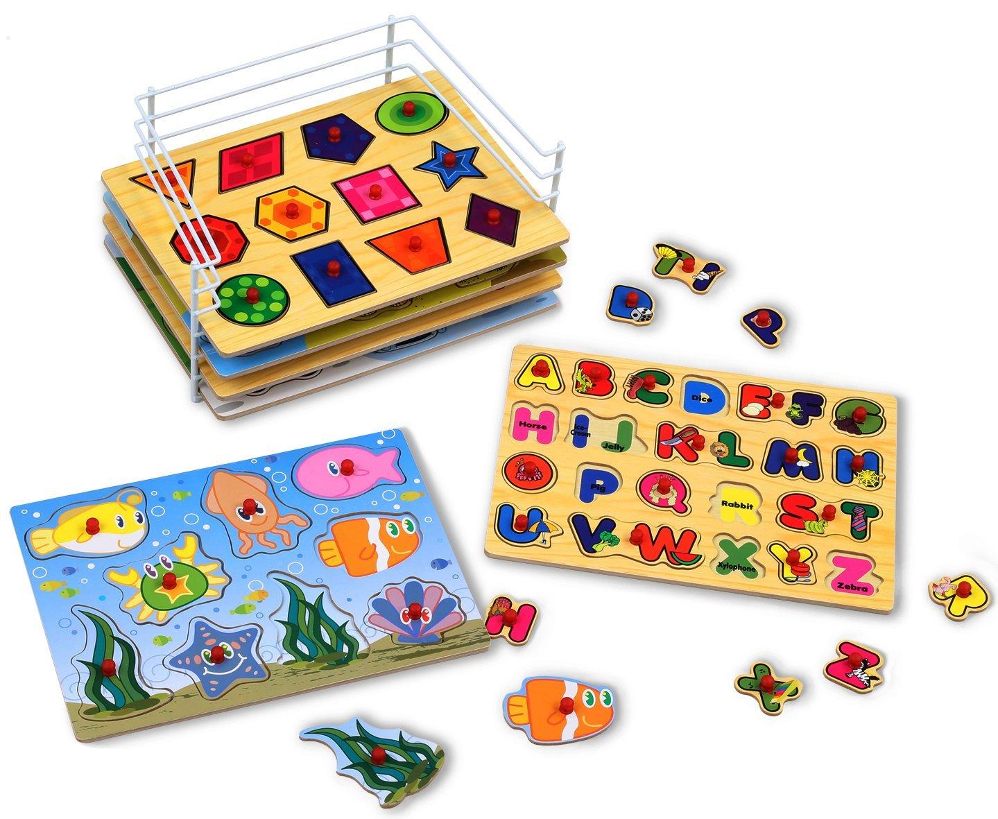 KLEEGER Baby Peg Puzzle Set - 6 Educational Knob Puzzles For Boy & Girl Toddlers - Alphabet, Numbers, Sea Life, Dinosaurs, Shapes & Vehicles - Bonus: Storage Rack