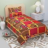 La Elite 3D Print Polycotton Brown Base Roses Floral Print Single Bedsheet with 1 Pillow Covers