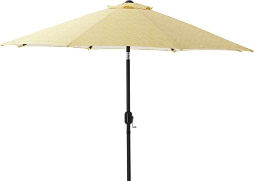 Pillow Perfect Herringbone Egg Yolk 9-foot Patio Market Umbrella
