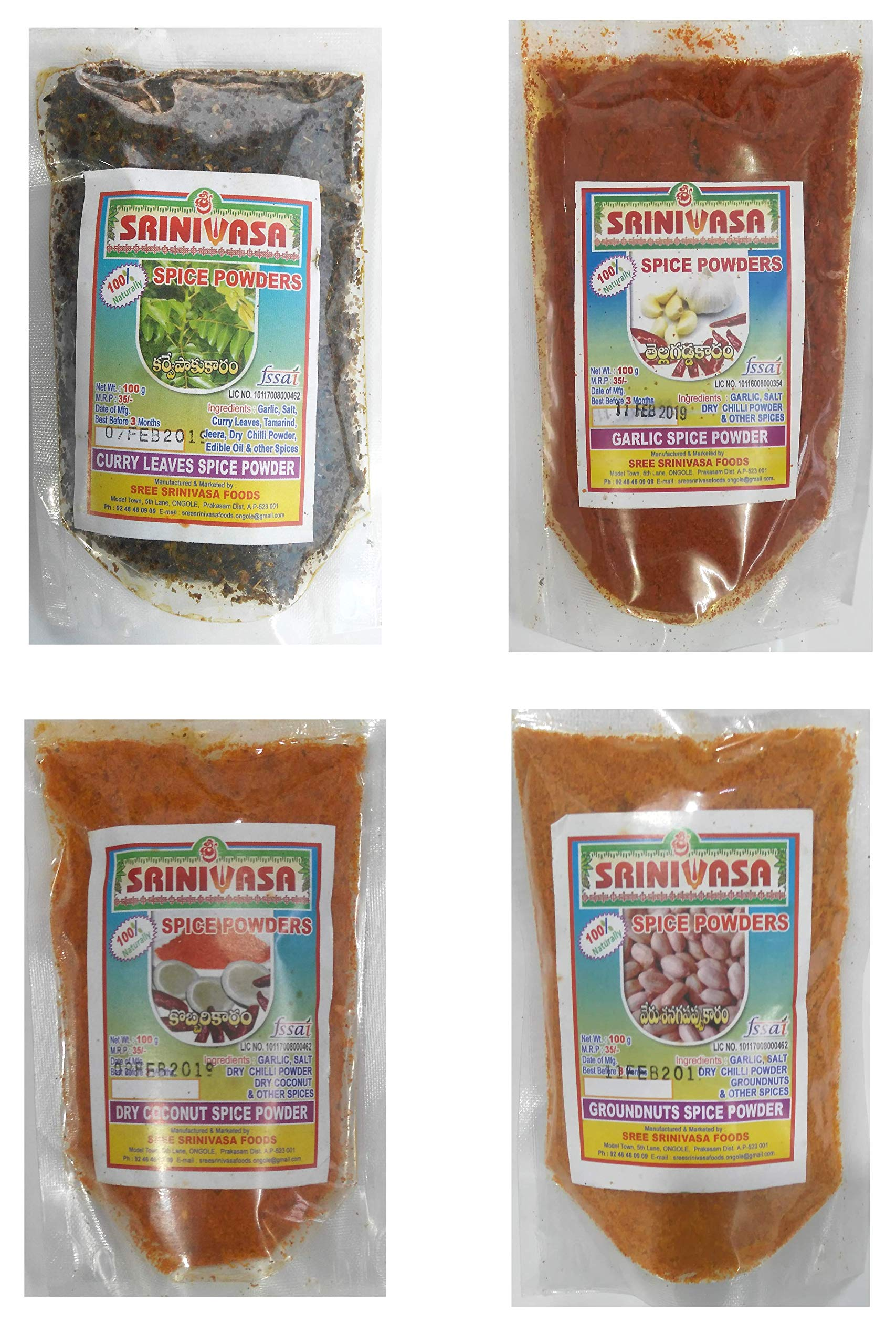 Andhra Special Spicy Powder Combo - Pack of 4 x 100gm ( Curry Leaves Spicy Powder, Groundnut Spicy Idly Powder, Garlic Spicy Powder & Dry Coconut Spicy Powder )
