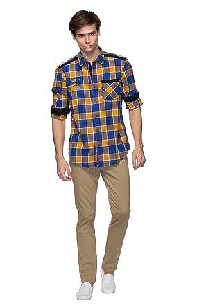 Mens Shirt - Mens Casual Wear/ Slim Fit - Cotton Shirt - Gold ...
