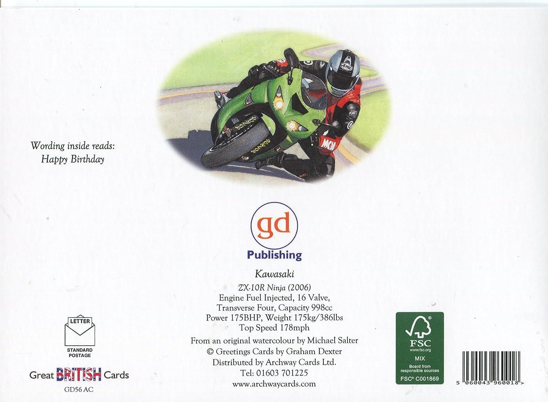 Kawasaki ZX-10R Ninja moto tarjeta de cumpleaños: Amazon.es ...