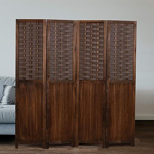 COZAYH 4-Panel 67 Paulownia Wood Screen Room Divider, Folding Freestanding w Hand-Woven Polymer Rattan Imitated Natural Wood Pattern