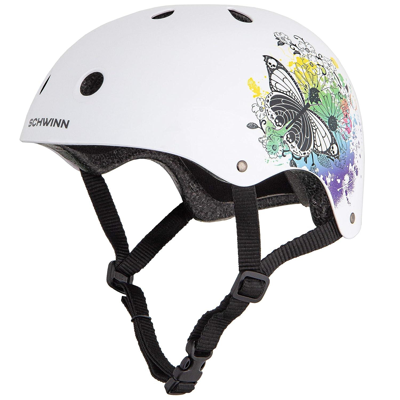 Schwinn - Casco de BMX para niña, diseño de Mariposa, Color Blanco, tamaño Mediano diseño de Mariposa tamaño Mediano Pacific Cycle SW04072