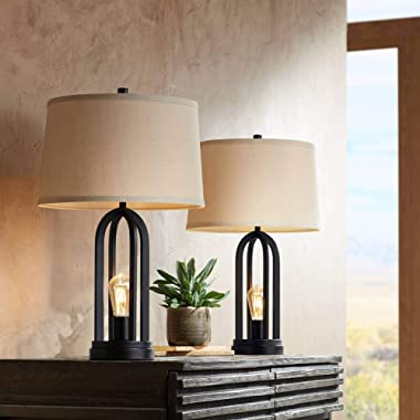 Marcel Modern Industrial Table Lamps Set of 2 with Nightlight LED USB Port Black Linen Shade for Living Room Bedroom - 360 Lighting