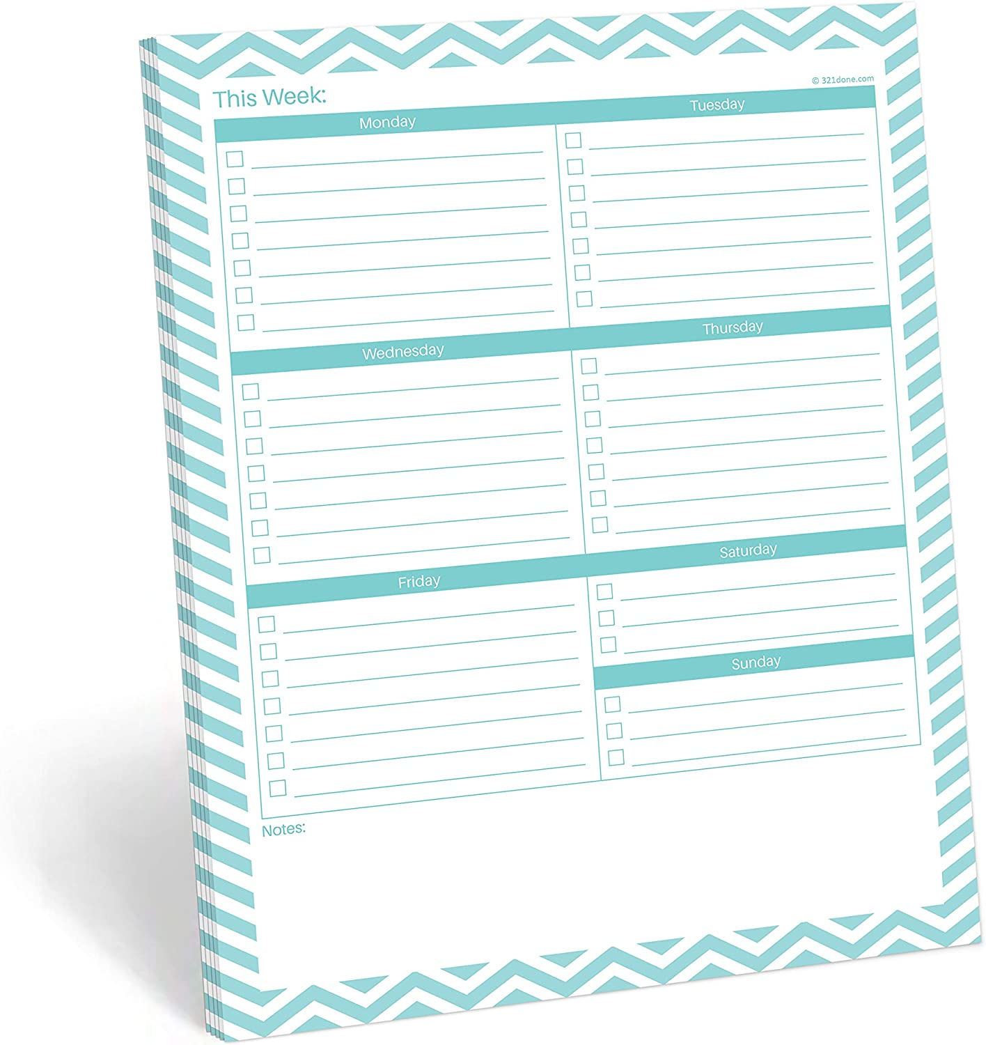 "321Done Weekly Checklist Planning Pad - 50 Sheets (8.5"" x 11"") - This Week to Do Notepad Tear Off, Desktop Planner Large Letter-Size - Made in USA - Chevron Teal"