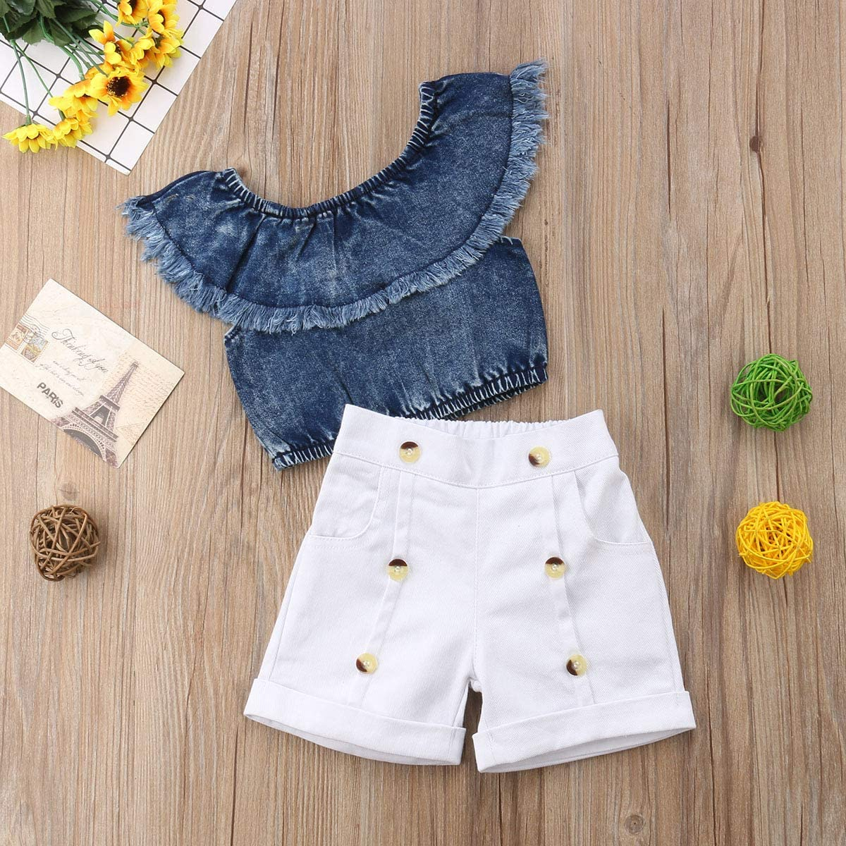Button Shorts Pants Outfits Set Baby Kids Girls Off Shoulder Ruffle Top Sleeveless Denim Tank Top