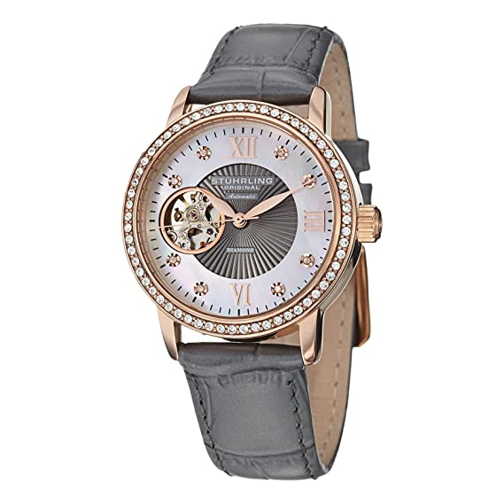 Amazon.com: Stuhrling Original Womens 710.04 Memoire Date Grey: Stuhrling: Watches