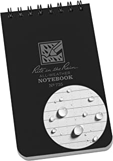 "product image for Rite in the Rain Weatherproof Top-Spiral Notebook, 3"" x 5"", Black Cover, Universal Pattern (No. 735)"