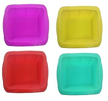 Takestop® Molde cuadrado de silicona no tóxico Plumcake Tarta tartas 26 x 26 x 5 cm para horno microondas nevera congelar Color aleatorio: Amazon.es: ...
