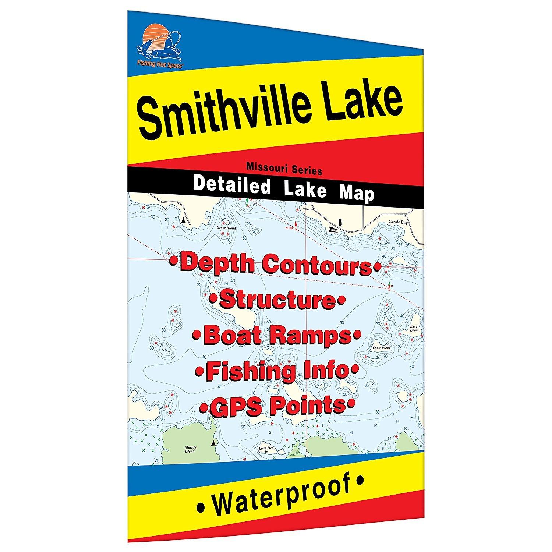 fishing hot spots lake maps Fishing Hot Spots Smithville Lake Fishing Map Amazon In Sports fishing hot spots lake maps