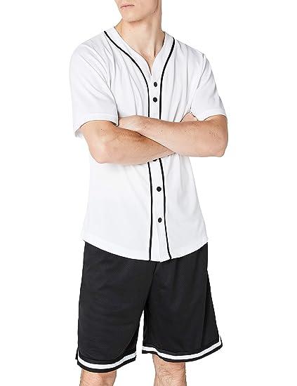 Urban Classics Baseball Mesh Jersey, T-Shirt Homme, Multicolore-Mehrfarbig  (WHT a83a1f8899de