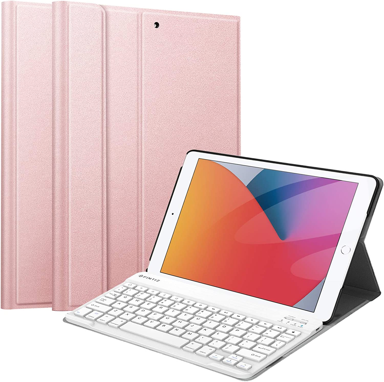 Fintie Keyboard Case for New iPad 8th Gen (2020) / 7th Generation (2019) 10.2 Inch, SlimShell Stand Protective Cover w/Magnetically Detachable Wireless Bluetooth Keyboard, Rose Gold