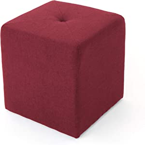 Christopher Knight Home Cayla Fabric Square Ottoman, Deep Red