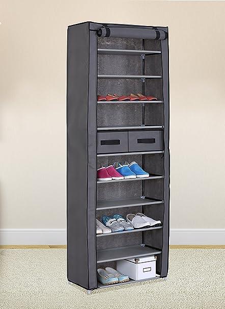 Amazoncom Grey 10 Tiers Shoe Rack With Dustproof Cover Closet Shoe