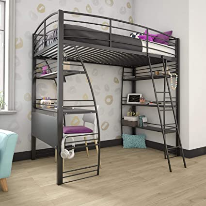 DHP Studio Loft Bunk Bed Over Desk and Bookcase with Metal Frame, Black,  Twin