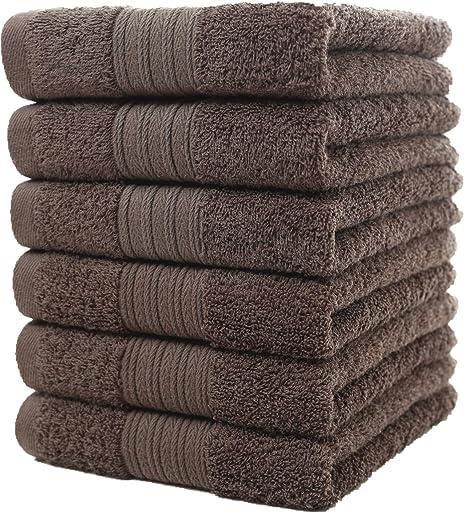 Toallas de mano grandes de algodón (gris, paquete de 6, 40 x 72