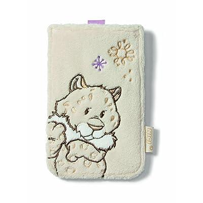 Nici 36090 - Téléphone Case Snow Leopard fille, peluche, 9 x 14,5 cm
