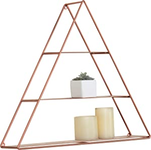 MyGift Wall Mounted Triangular Copper-Toned Metal 3-Tier Display Shelf