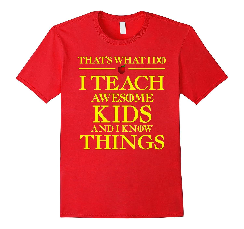 I TEACH AWESOME KIDS Funny Teacher Christmas Novelty T-Shirt-FL