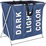 WENKO 3440023100 Pongotodo Trio azul  - 3 cámaras para la ropa, plegable,  130 L, Poliéster, 63 x 57 x 38 cm, Azul