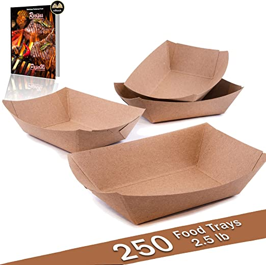 Bandeja de papel kraft marrón para alimentos, capacidad de 2,5lb ...